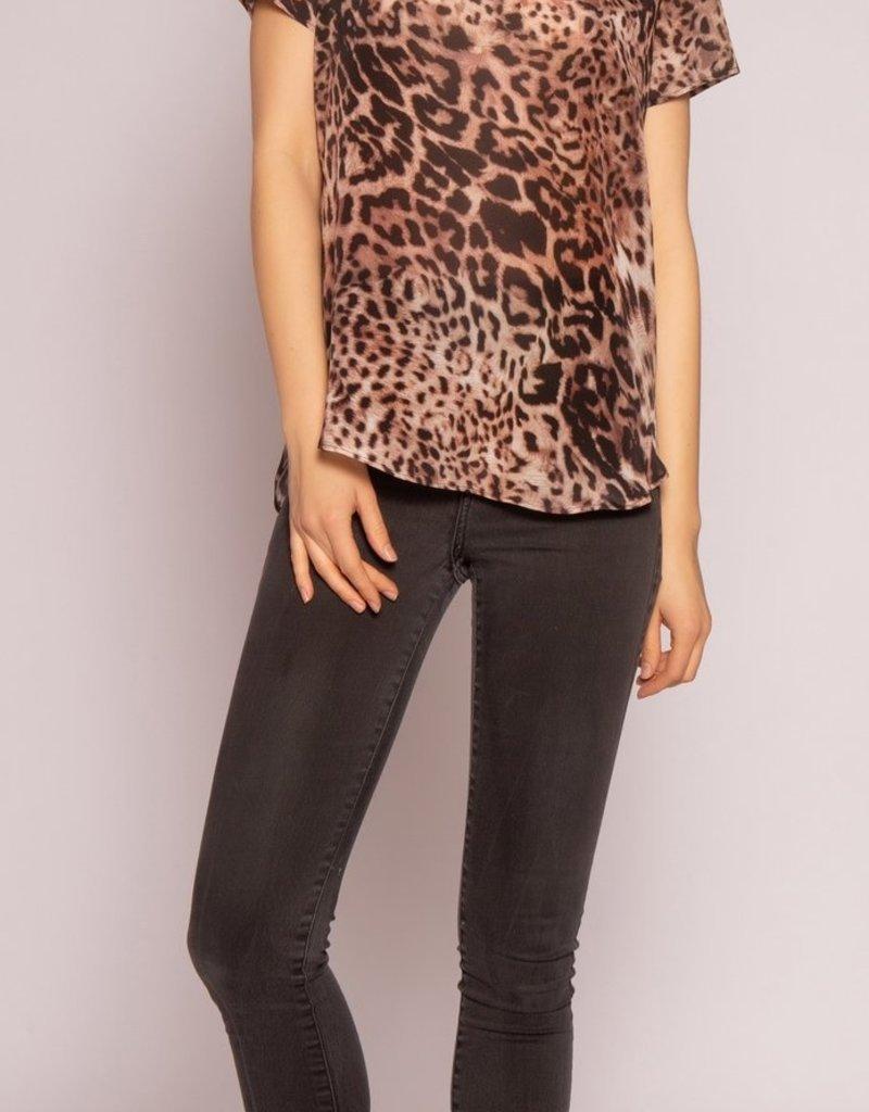 Lavender Brown Brown Leopard Silk Top