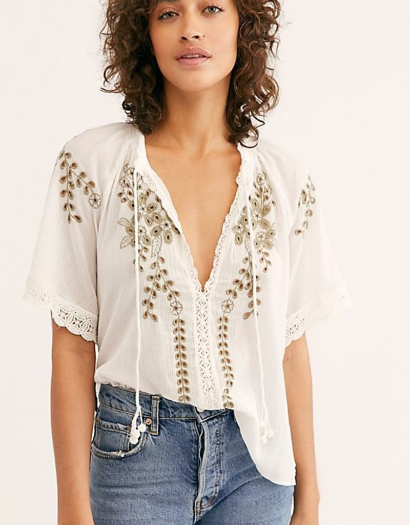 Free People Dahlia Embroidered Blouse