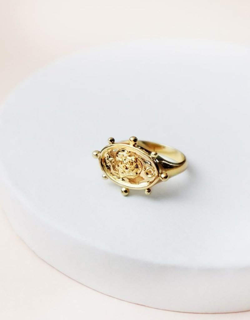 Wanderlust + Co. Rhea Gold Signet Ring