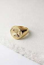 Wanderlust + Co. Bee Gold Signet Ring