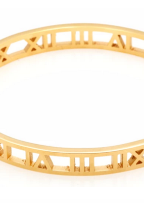 Accessory Concierge Gold Roman Numeral Hinged Bracelet