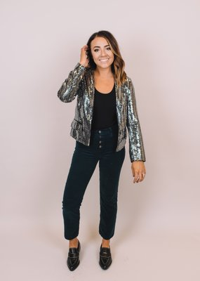 LABEL Silver Sequin Blazer