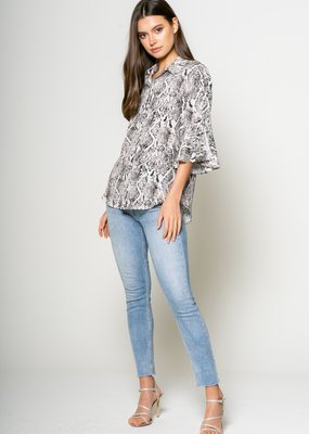 Lavender Brown Snake Print Shirt