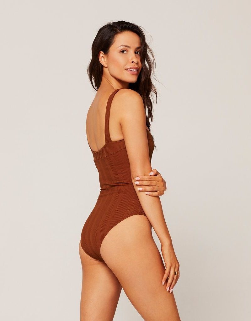 L*SPACE Cha Cha One Piece Swimsuit - Tobacco