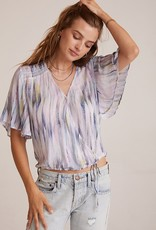 Bella Dahl Flutter Sleeve Smocked Top - Feather Stripe