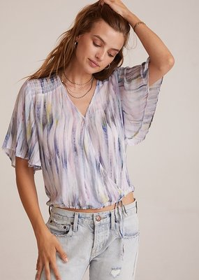 Bella Dahl Flutter Sleeve Smocked Top - Feather Stripe