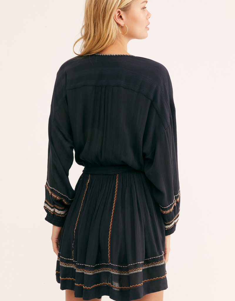 Free People Delilah Embroidered Wrap Dress