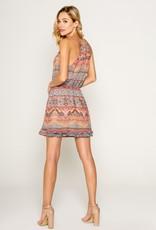 Lavender Brown Felicity Mini Dress With Ruffle Hem