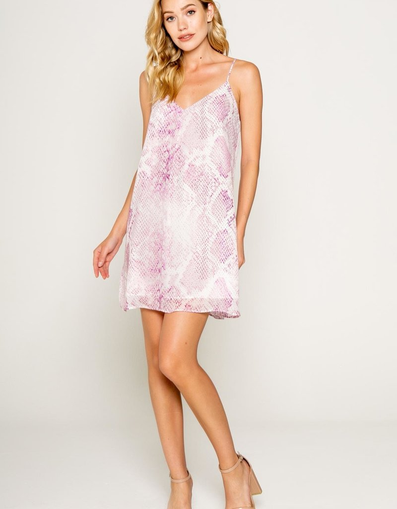 Lavender Brown Genevive Spaghetti Strap Mini Slip Dress