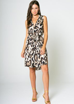 Lavender Brown Cheetah Sleeveless Shirt Dress