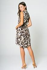 Lavender Brown Cheetah Sleeveless Shirt Dress