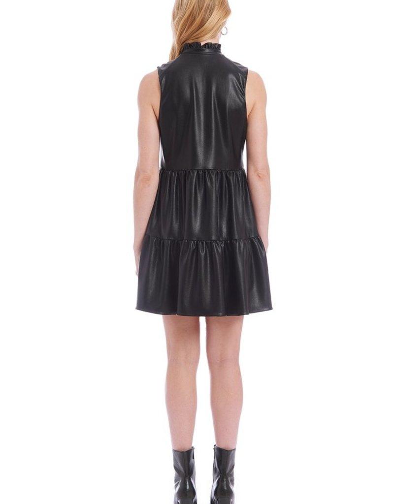Amanda Uprichard Sleeveless Saffron Dress in Faux Leather