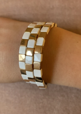 La Lumiere NY Mini White & Gold Square Enamel Bracelet