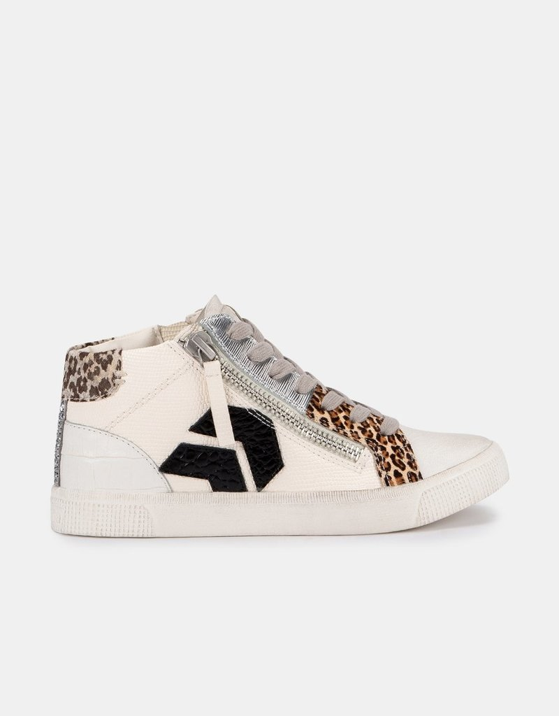 Dolce Vita Zonya Sneakers - White/Black Embossed Lizard