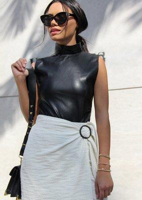 BB Dakota Faux-M-G Vegan Leather Bodysuit