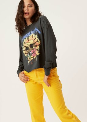 Daydreamer Metallica Flaming Skull Oversized Long Sleeve Crop