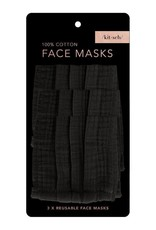 Kitsch Cotton Face Mask 3pc Set - Black