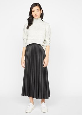 Sanctuary Top Secret Pleated Vegan Leather Midi Skirt