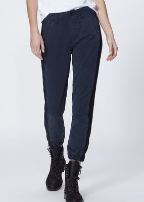 Paige Mayslie Jogger with Velvet Inset - Navy/Black