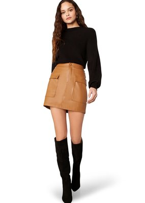 BB Dakota Leather Too Late Vegan Leather Mini Skirt