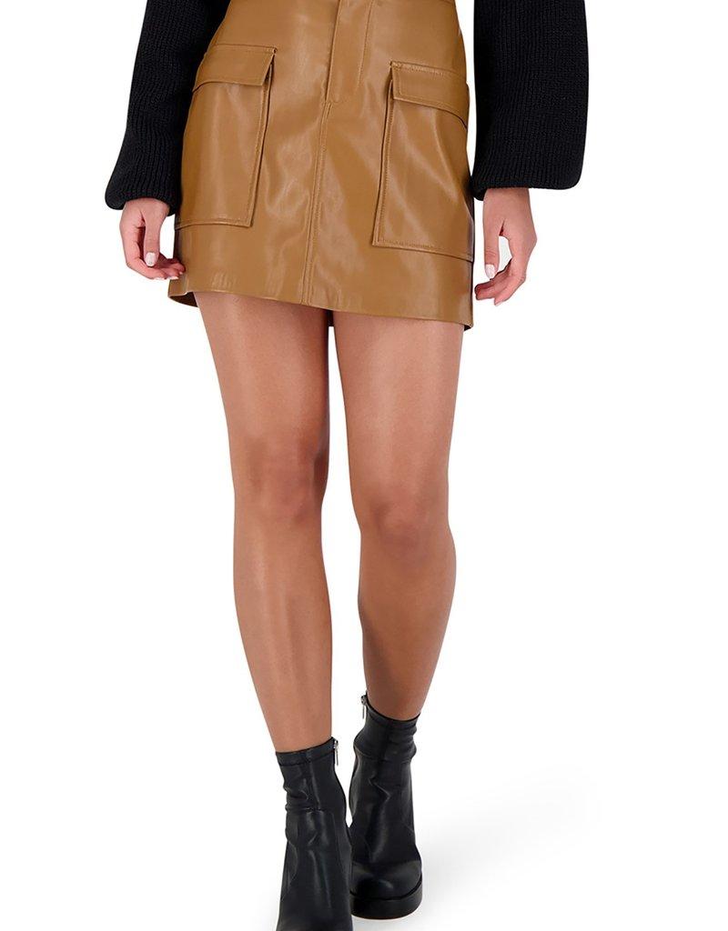 BB Dakota Leather Too Late Vegan Leather Mini Skirt