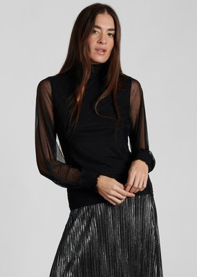 Sanctuary Smocked Mesh Top Black
