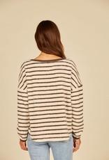 Vintage Havana Striped Fuzzy Crewneck Sweater