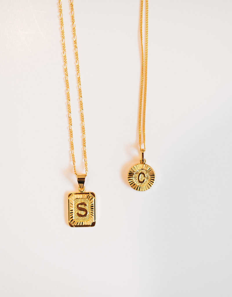 LABEL Initial Medallion Necklace