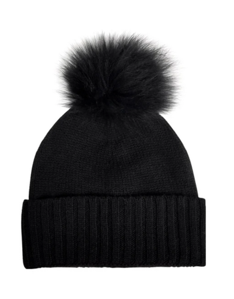 Hat Attack Cashmere Slouchy Cuff Hat with Faux Fur Pom