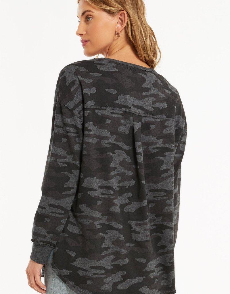 Z Supply Dusty Camo V-Neck Weekender - Charcoal