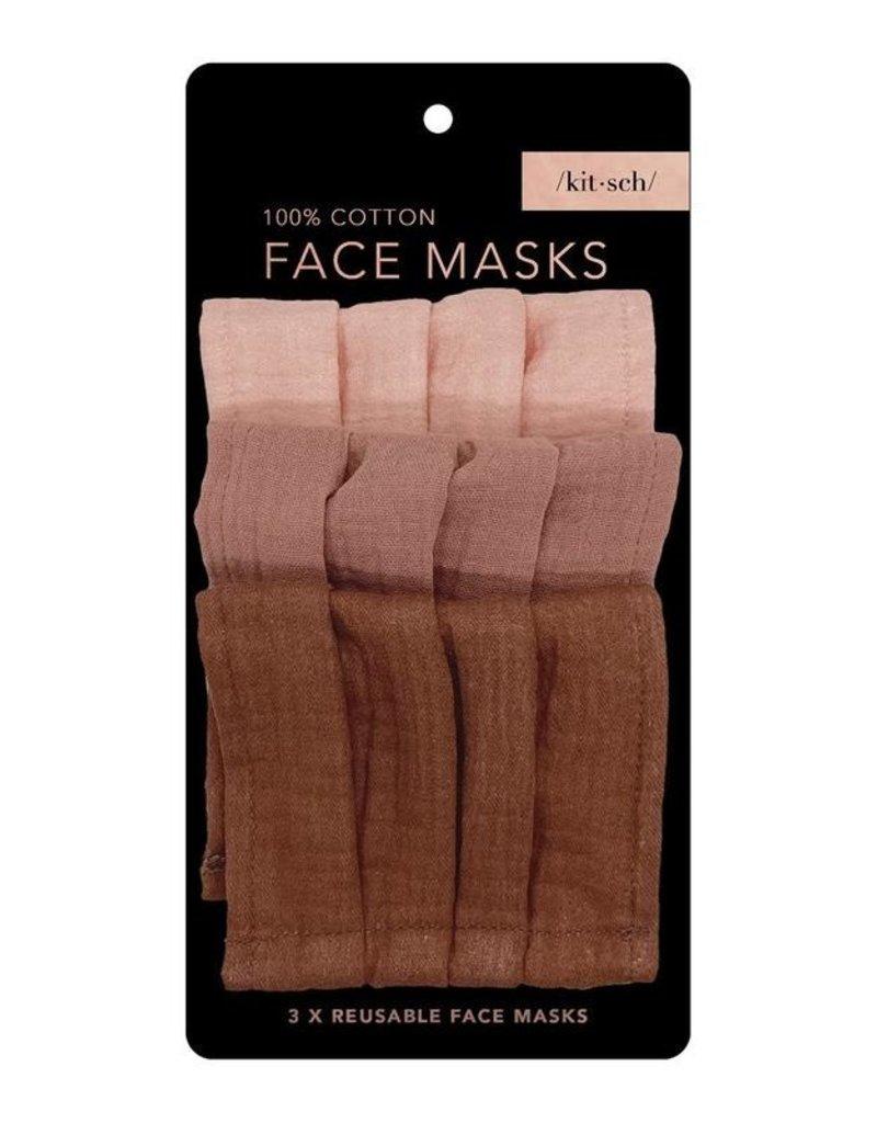 Kitsch Cotton Face Mask 3pc Set - Dusty Rose