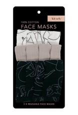 Kitsch Cotton Face Mask 3pc Set - Body Positivity Nude Figure Drawing