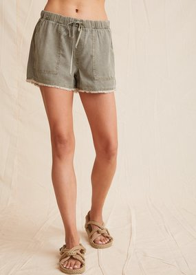 Bella Dahl Frayed Pocket Short - Soft Army