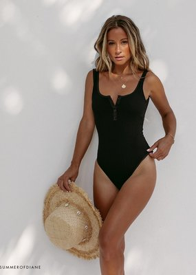 L*SPACE Ribbed Float on One Piece Swimsuit
