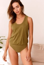 Free People Tee Off Bodysuit - Olive Sparrow