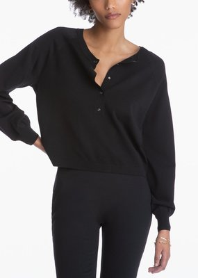 525 Buttoned Crewneck Long Sleeve - Black