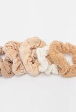 Kitsch Assorted Textured Scrunchies 5pc - Sand