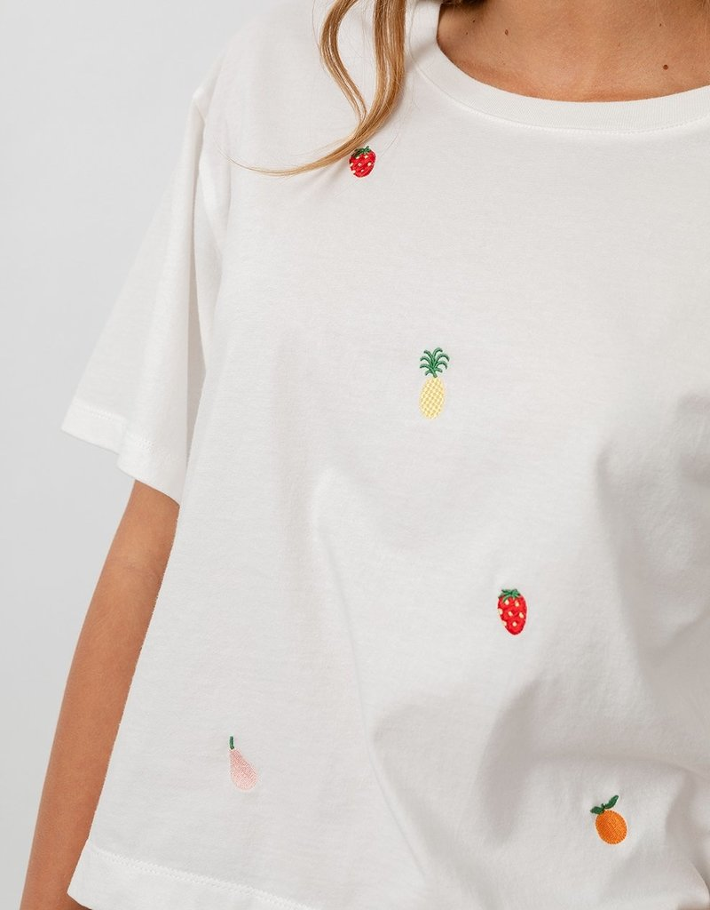 Rails Boxy Crew Tee - Embroidered Fruit