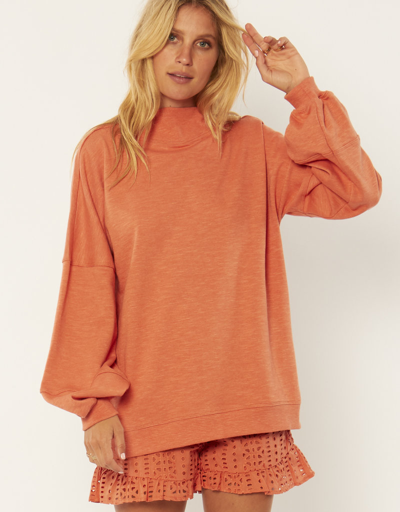 Amuse Society Kirsten Long Sleeve Knit Fleece Top
