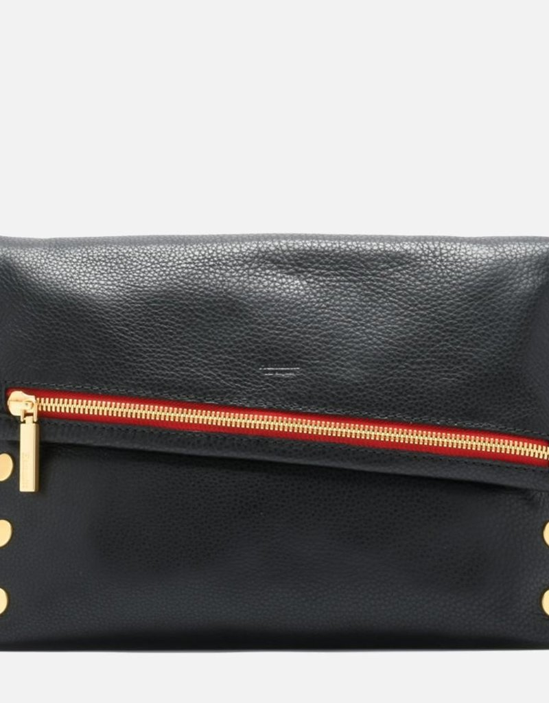 Hammitt VIP Large Oversized Crossbody Clutch - Black/Brushed Gold Red Zip