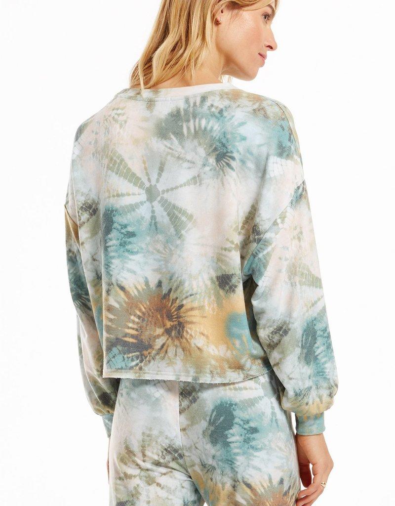 Z Supply Aqua Tie-Dye Sweatshirt