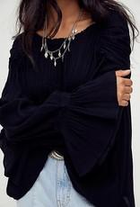Free People Kelsey Blouse - Black