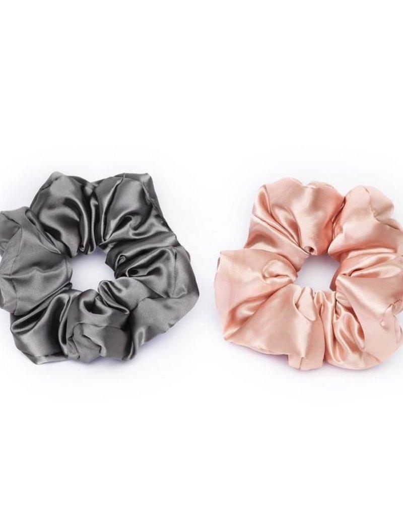 Kitsch Satin Sleep Pillow Scrunchies - Blush/Gray