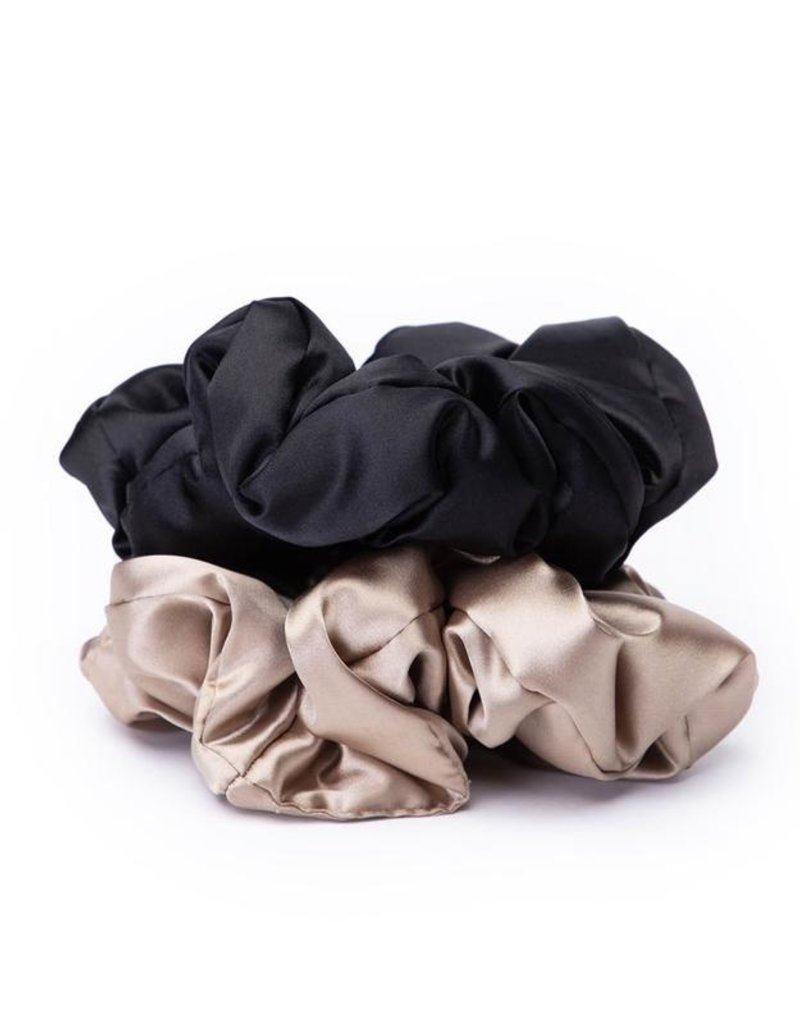 Kitsch Satin Sleep Pillow Scrunchies - Black/Gold
