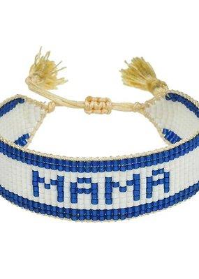 """HART Navy Striped """"Mama"""" Beaded Bracelet"""