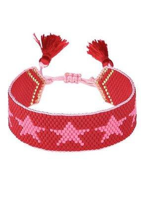 HART Pink + Red Star Beaded Bracelet