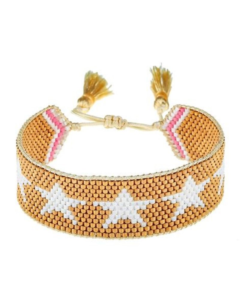 HART Gold + White Star Beaded Bracelet
