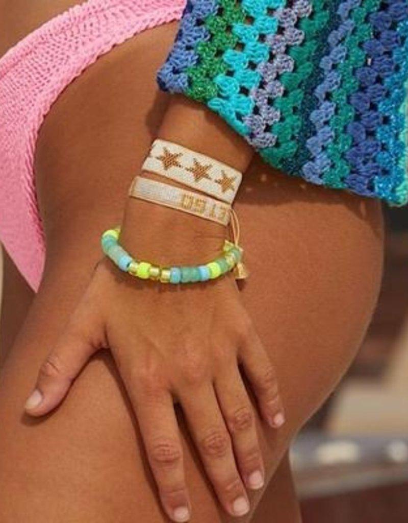 HART White + Gold Star Beaded Bracelet