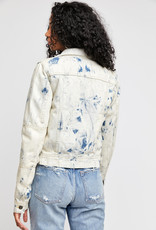 Free People Rumors Denim Jacket - Tie Dye Blue