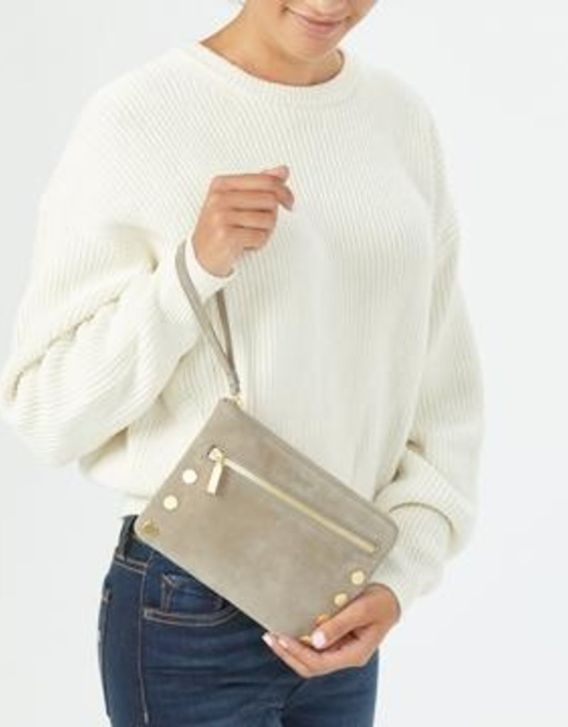 Hammitt Nash Small Nubuck Wristlet - Grey Natural/ Brushed Gold